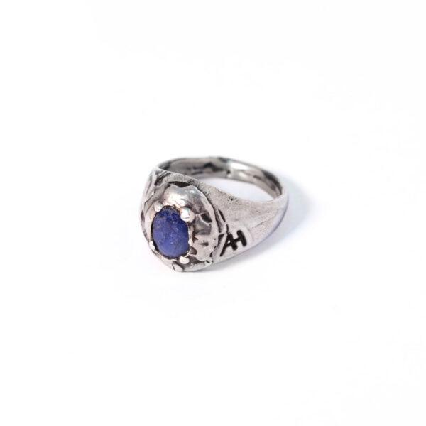 Anello chevalier zaffiro blu