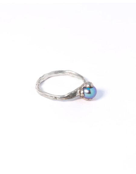 Anello fusion perla grigio blu naturale